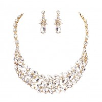 Sparkling Clear Gold Marquise Stone Statement Necklace Set