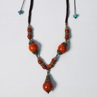 Tibetan Giant Coral Bead Silk Cord Necklace