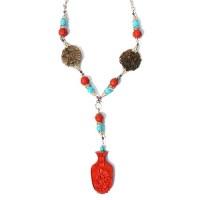 Vintage Inspired Tibetan Cinnabar Pendant Silver Necklace