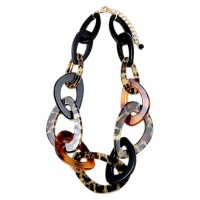 Chunky Brown Animal Print Circle Link Chain Statement Necklace
