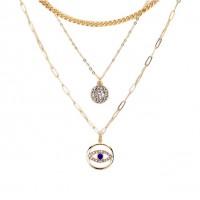 Stunning Triple Chain Link Evil Eye Rhinestone Pendant Necklace