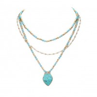 Romantic Multi Strand Turquoise Blue Beaded Link Statement Necklace