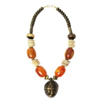 Handcrafted Amber Honey Tribal Pendant Statement Necklace