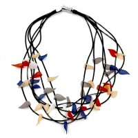 Handcrafted Multi-Strand Colorful Leaves Black Wire Necklace