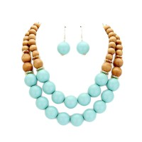 Lovely Double Strand Wood Balls Necklace Earring Set
