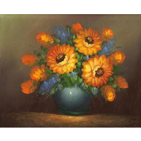 Oil Painting of Bouquet of Chrysanthemums