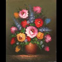 Oil Painting of colorful Floral Arrangement