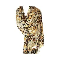 MOCHA BROWN LEOPARD ANIMAL PRINT PASHMINA SHAWL