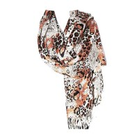 COPPER BROWN  LEOPARD ANIMAL PRINT PASHMINA SHAWL