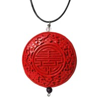 Cinnabar Red Round Pendant Necklace