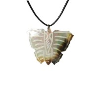 Genuine Mother Of Pearl Butterfly Shell Cord Pendant Necklace