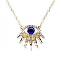 Dazzling Royal Blue Evil Eye Rhinestone Pendant Necklace