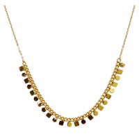Gold Plated On Silver Geometric Square Round Dangles Pendant Link Necklace