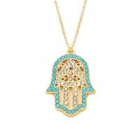 Turquoise Blue Hamsa Hand Of Fatima Pendant Necklace