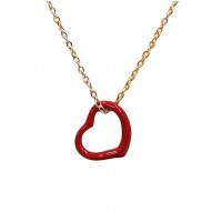 Lovely Red Rhinestone Heart Pendant Necklace