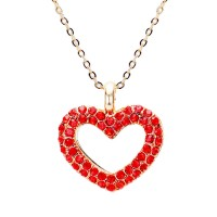 LOVELY OPEN RED RHINESTONE HEART PENDANT NECKLACE