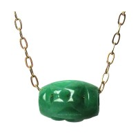 Gorgeous Carved Jade Barrel Gold Chain Necklace