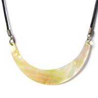 Mother Of Pearl Shell Moon Shape Pendant Necklace