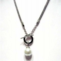 Jumbo Mother Of Pearl White Drop Pendant Necklace