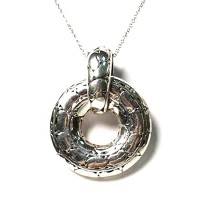 Hammered Jumbo Silver Round Pendant Necklace