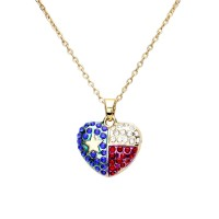 Lovely Patriotic American Flag Heart Pendant Necklace