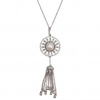 VINTAGE PEARLY CZ STARBURST TASSELS WHITE-GOLD PLATED STATEMENT NECKLACE