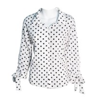Black White Polka Dot Long Sleeve V Neck Button Tops Blouse