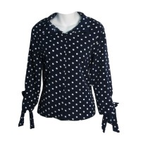 Navy White Polka Dot Long Sleeve V Neck Button Tops Blouse