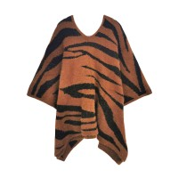 LUXURIOUS TIGER PRINT FURRY FUZZY PONCHO