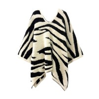 LUXURIOUS ZEBRA PRINT FURRY FUZZY PONCHO