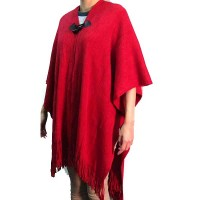 Soft Red Blanket Wrap Sweater Poncho Tunic
