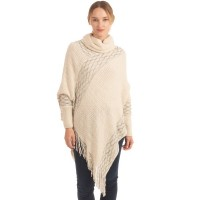 Luxe Cream Cowl Neck Sleeve Poncho