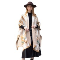 LUXURIOUS BROWN REVERSIBLE PLAID PONCHO