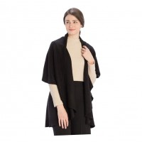 Versatile Black Cape Shawl Vest