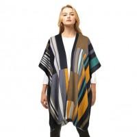 Artistic Multi Color Black Cashmere Shawl Poncho