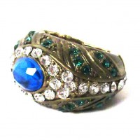 STUNNING BLUE GREEN CRYSTAL PAVE COCKTAIL RING