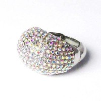 Stunning Clear Crystal Pave Cocktail Ring