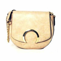 BEIGE SADDLE CROSSBODY HANDBAG