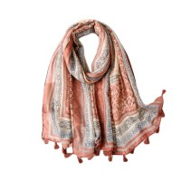 Gorgeous Pink Abstract Print Tassel Scarf
