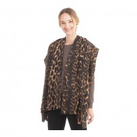 Elegant Brown Leopard Print Scarf Shawl Wrap
