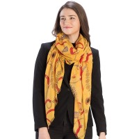 Harvest Yellow Chain Link Print Oblong Scarf