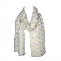 Yellow Blue Polka Dot Pattern Tassel Scarf