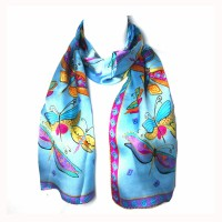 Whimsical Blue Dragonfly Print Silk Long Scarf