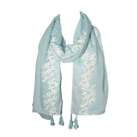 Mint Embroidered Floral Tassel Long Scarf
