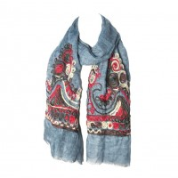 Teal Blue Embroidery Floral Yarn Oblong Scarf