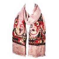 Pink Embroidery Floral Yarn Oblong Scarf