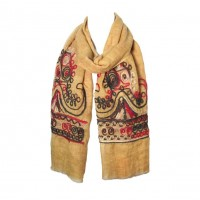 Sunflower Yellow Embroidery Floral Yarn Oblong Scarf