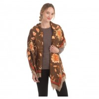 Flora Gold Metallic Brown Scarf Shawl Wrap