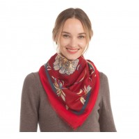 Flora Gold Metallic Burgundy Scarf Shawl Wrap