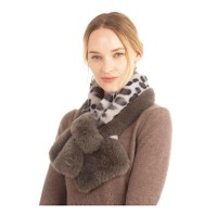 Gorgeous Luxe Leopard Gray Faux Fur Scarf